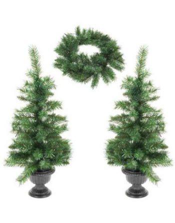 Kerstbomen en kerstkrans...